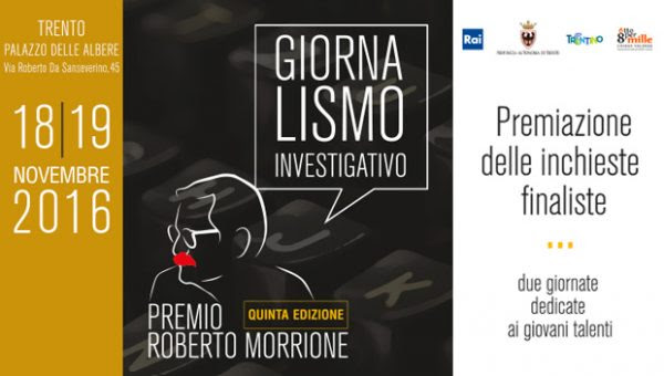 Save the date: 18 e 19 novembre  Premio Morrione a Trento