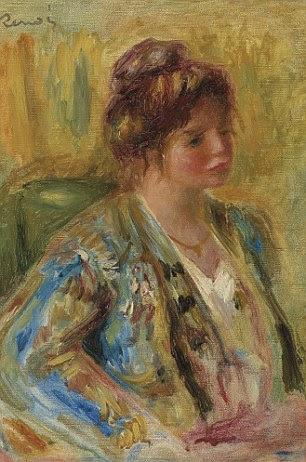 """Pierre-Auguste Renoir (1841-1919), Buste de femme en traje oriental.  Assinado """"Renoir"""".  Óleo sobre tela.  Pintado por volta de 1895.  Estimativa £ 180.000 a 250.000 £"""