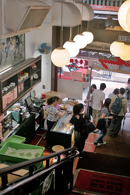 Stairway leads up to airconditioned dining hall, and down to takeaway pastries