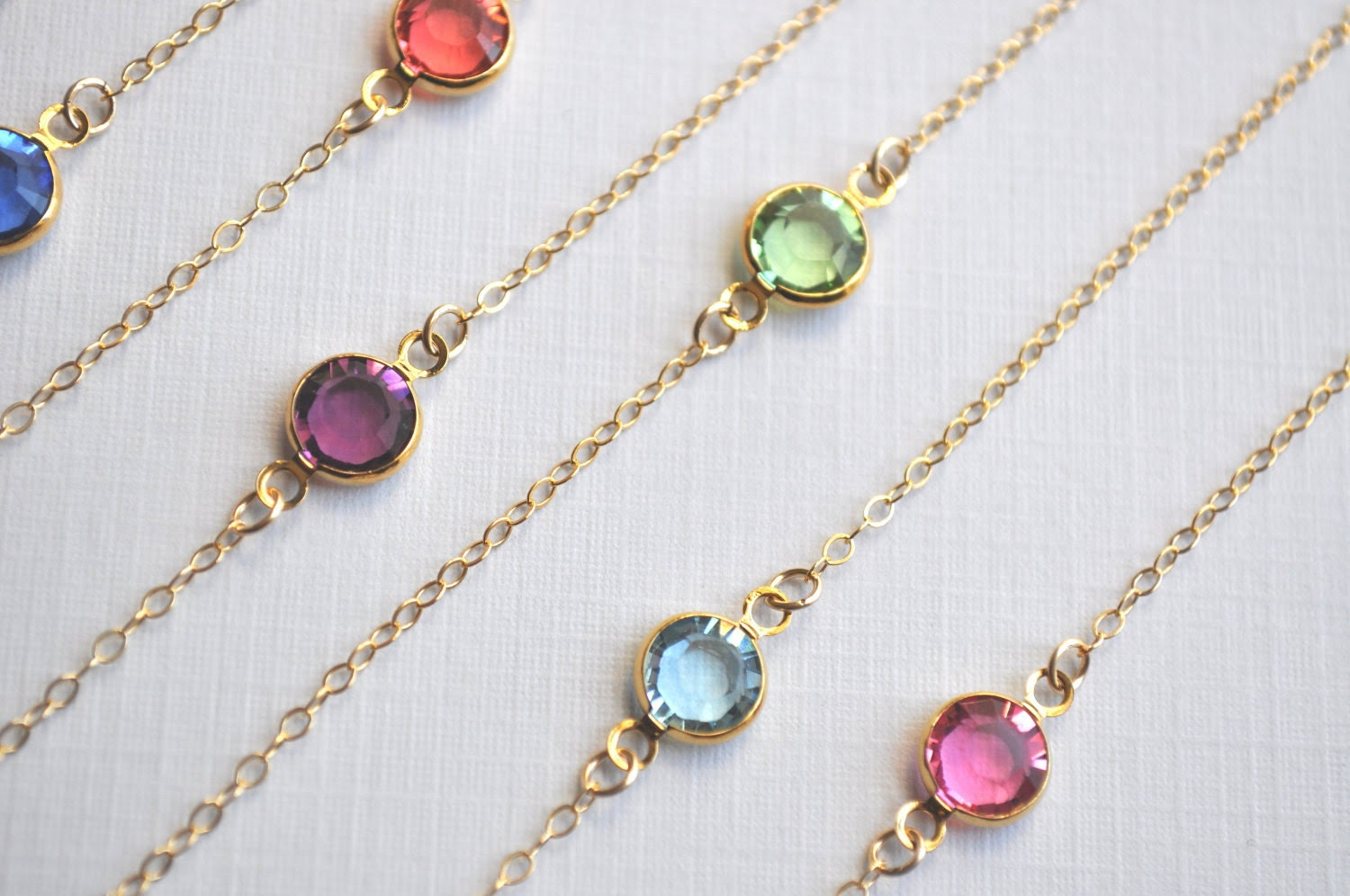 Tiny Pebble Birthstone Necklace - round crystal gem gold filled dainty - simple everyday jewelry - adencreations