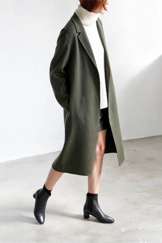 Le Fashion Blog Green Longline Coat White Ribbed Turtleneck Leather Skirt Black Leather Ankle Boots Via Flat 80