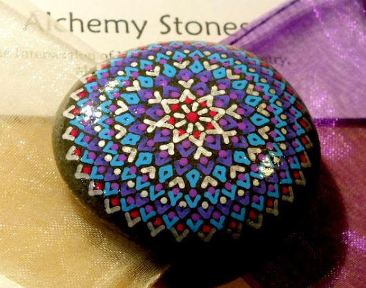 Hand Painted Mandala Stone with Silver Violet by AlchemyStones