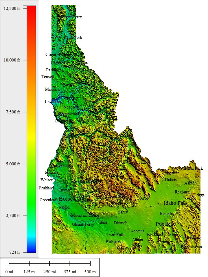 Topographic Map Of Idaho | Time Zone Map