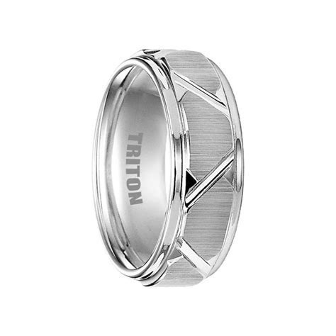 BLAINE White Tungsten Wedding Band with Etched Finish