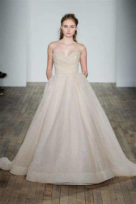 Style #3810, Blush shimmer tulle ball gown, strapless