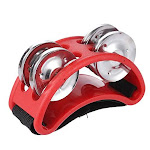 Ammoon Foot Tambourine Percussion Musical Instrument 2 Sets Metal Jingle Bell