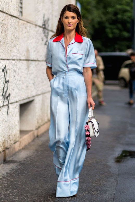 Le Fashion Blog Hanneli Tailored Pajama Dressing Via Harpers Bazaar