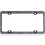Insten White Crystals Black Metal Frame with Triple Row Crystals License Plate Frame Tag Cover Screw Caps