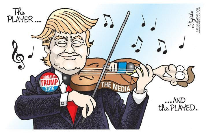 Image result for Cartoons Trump makes fools out of biased media