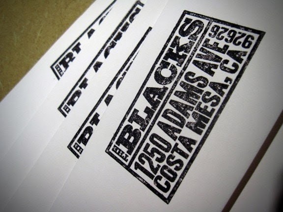Custom Return Address Rubber Stamp w/Vintage Letterpress Feel - 0006