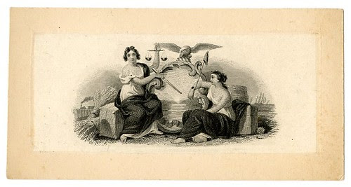 Two female figures with the one holding scales. Design printed in black. (19th c)