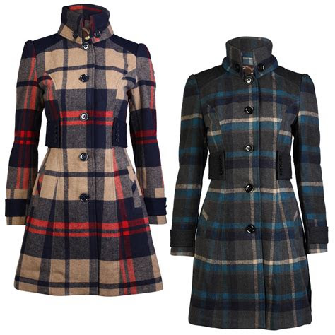 ladies check womens fitted high collar long button winter