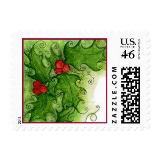 Christmas Holly Postage Stamp stamp