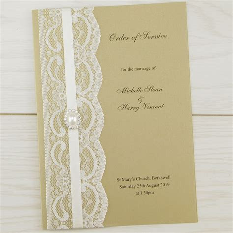 Vintage Lace Order of Service   Pure Invitation Wedding