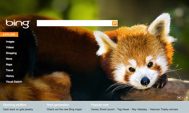A Firefox on the bing homepage