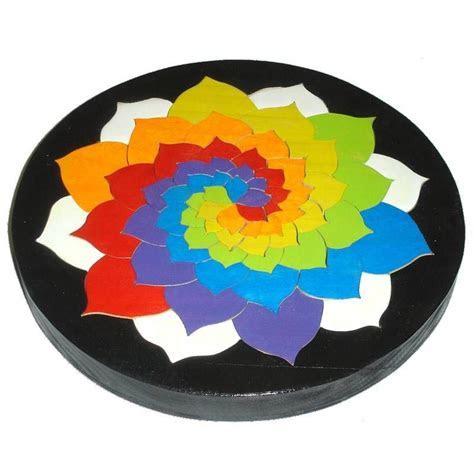 Mosaic Wooden Mandala Tray Puzzles/ Rainbow Spiral Flower