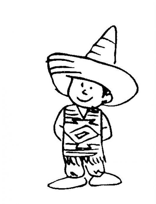 Mexicanito Dibujo De Un Lindo Nino Mexicano Para Pintar Y Colorear
