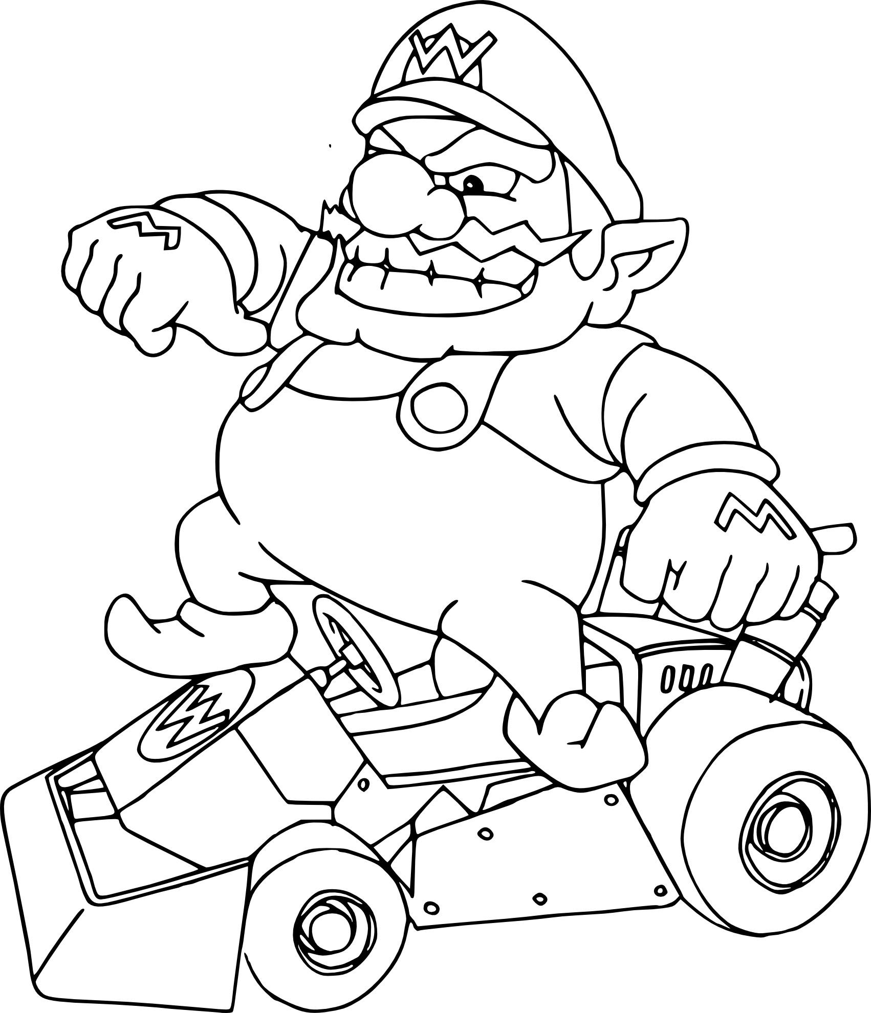 Coloriage Wario Mario Kart à Imprimer