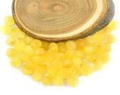 Natural Baltic Amber rounded beads - 50 pcs - UNPOLISHED Citrine - lemon