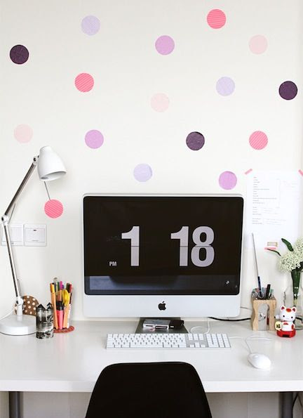 Office wall art inspiration: Polka dot decals