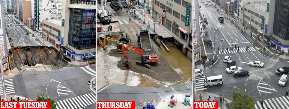 Japan's mega-sinkhole is repaired in Fukuoka in just a WEEK