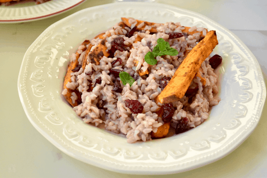Instant Pot Roasted Sweet potato and Cranberry spiced Rice - Zesty South Indian Kitchen