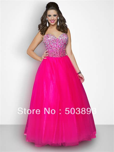 Free shipping hot pink plus size prom dresses 2014 crystal