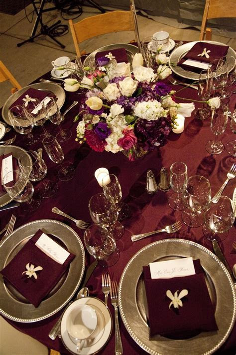 Rich burgundy and silver wedding tablescape. ~~~ With Gold