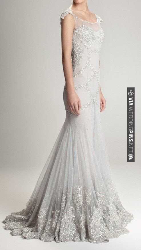 Gorgeous silver grey wedding gown with silver beaded detailing | Hamda Al Fahim
