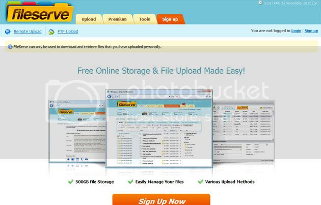 Fileserve File Sharing Website