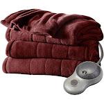 Sunbeam Electric Heated Plush Blanket, Red