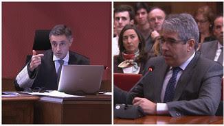 El fiscal Emilio Sánchez Ulled i Francesc Homs, aquest dimecres al matí al judici del 9-N