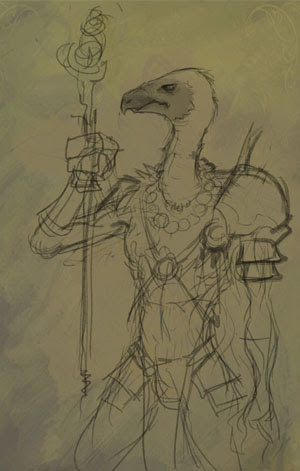 vulture, fantasy, how to draw, painting, cartoon, manga, monk,demon hunter, tutorial
