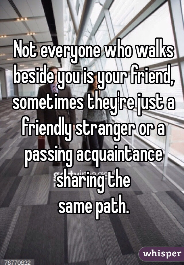 Not Everyone Who Walks Beside You Is Your Friend Sometimes Theyre