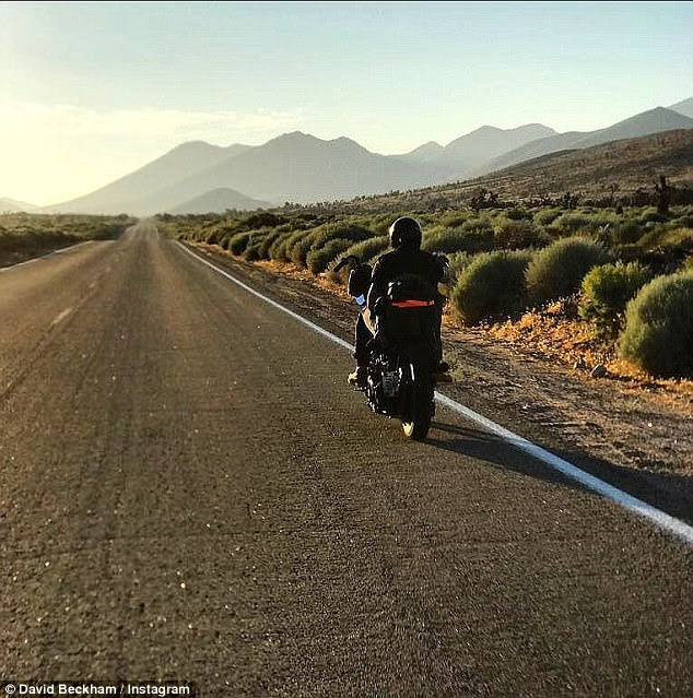 Rugged: In one of the shots, David is seen to hitting the open road
