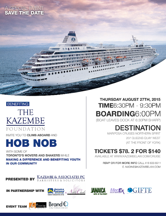 THIS THURSDAY The Kazembe Foundation | Second Annual Hob Nob Cruise | August 27th