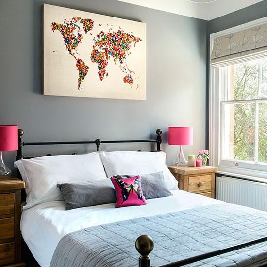 Grey and pink bedroom housetohome.co.uk