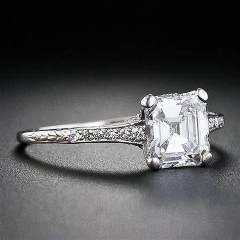 1.05 Carat Square Emerald Cut Diamond Edwardian Engagement