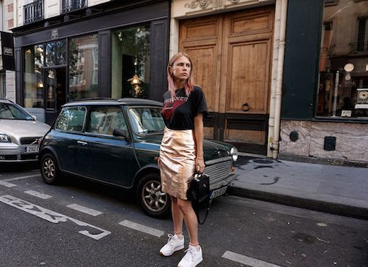 Le Fashion Blog Band Tee Metallic Pencil Skirt White Sneakers Via Always Judging