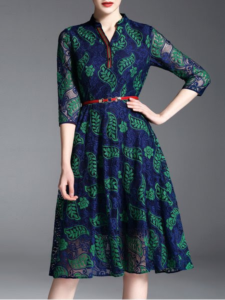 Green Long Sleeve A-line Stand Collar Crocheted Lace Midi Dress