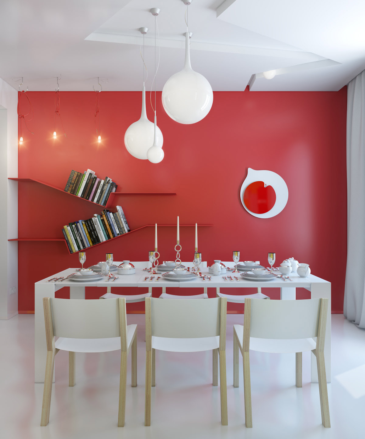 Small Apartment Zinging with Color red white dining room modern ...