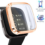 Screen Protector For Fitbit Versa 2 Smartwatch, with Soft TPU Rubber Protective Case All Around Shockproof Bumper Full Cover, Clear/Rose Gold by