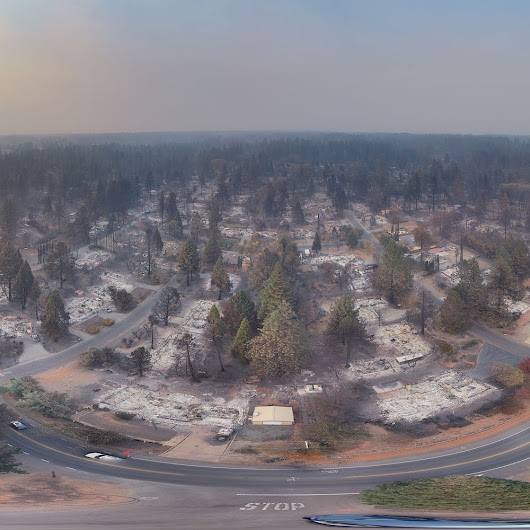 Paradise destruction: 360-degree views from drone flyover