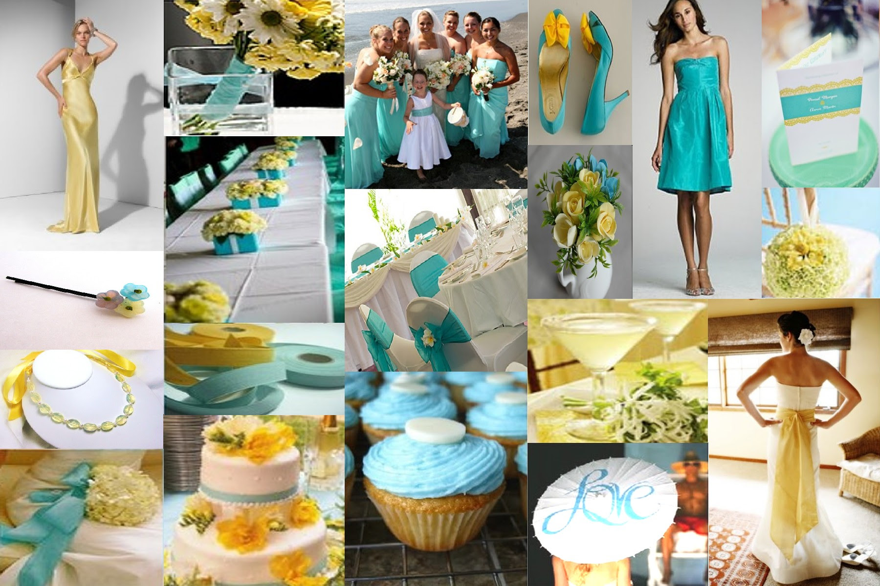 What colours go with Aqua and Teal? :  wedding aqua teal colours bridesmaids pastel decisions Aqua And Yellow