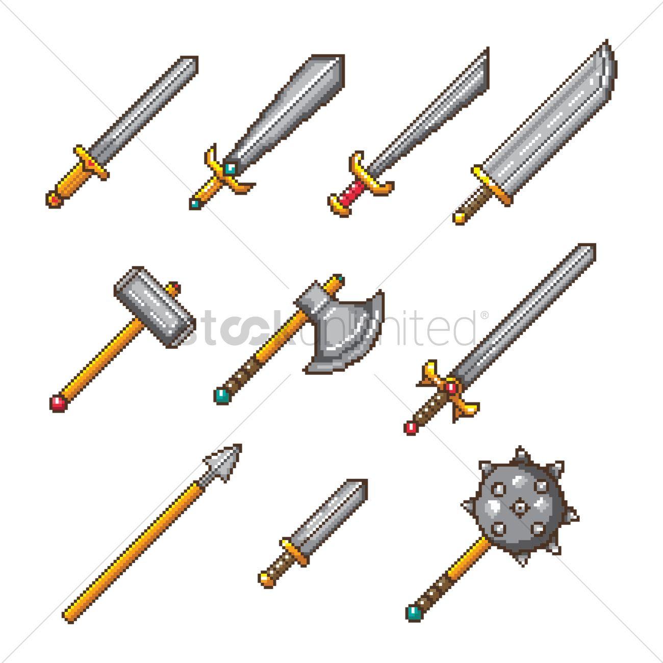 set of pixel art weapon icons_1957764