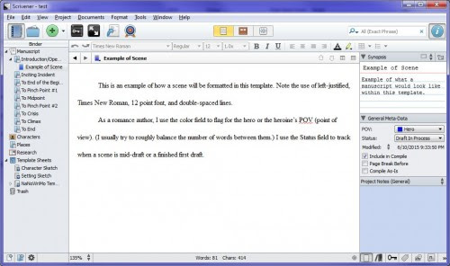 Romance Writers: New Scrivener Template!