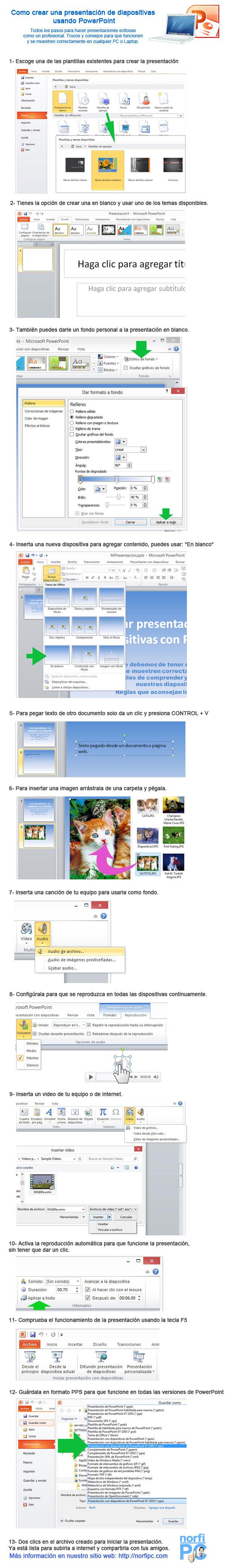 Como crear una presentación de diapositivas usando PowerPoint, Infografía con todos los pasos necesarios.
