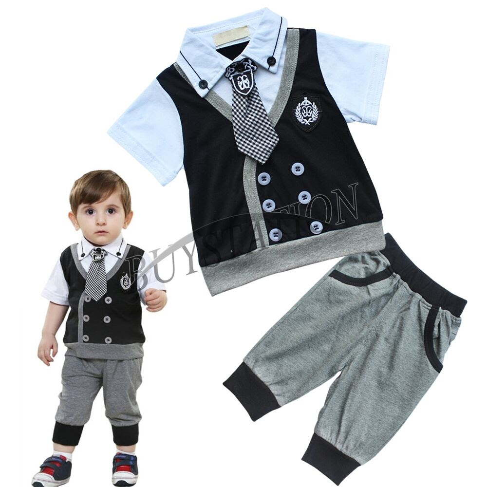 Baby Boy Gentleman Tie Top TShirt + Shorts Pants Set Xmas Party Outfits Clothes  eBay
