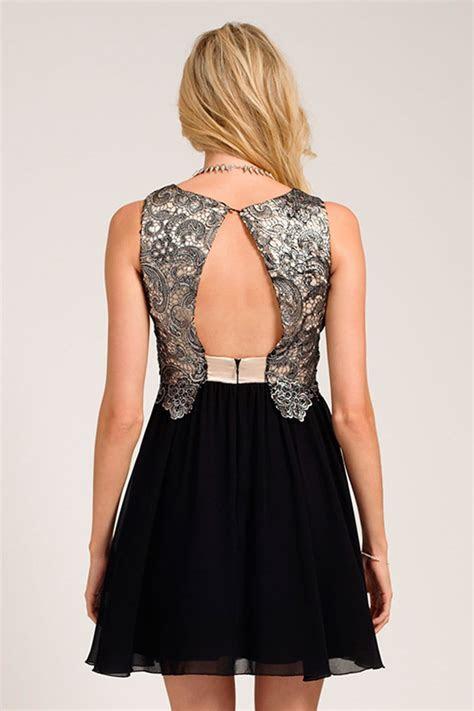 Silver & Black Metallic Lace Overlay Skater Dress