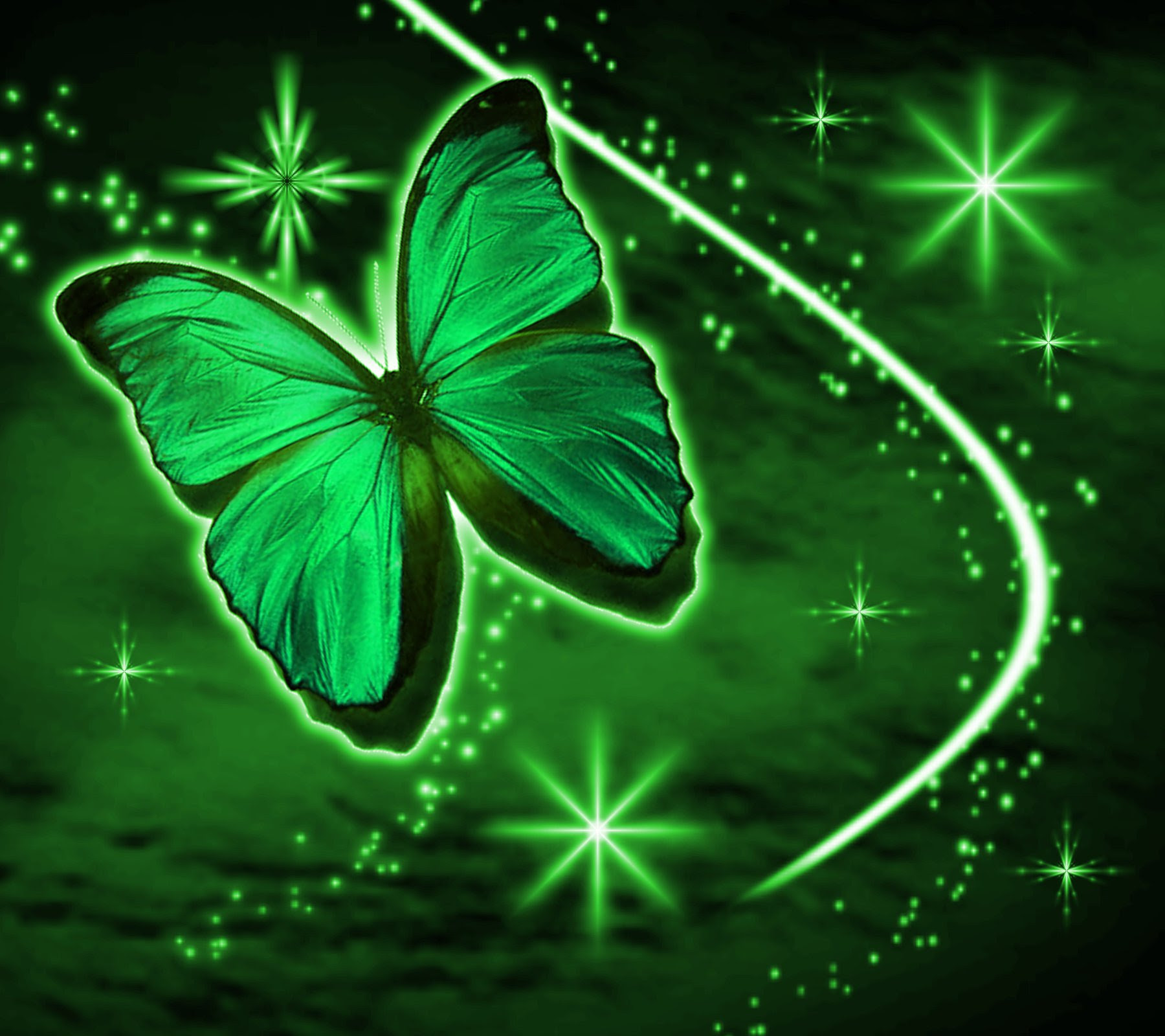 Green Butterfly With Stars Background 1800x1600 Background ...